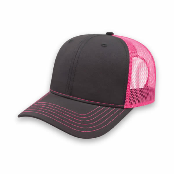 Charcoal/Neon Pink Modified Flat Bill with Mesh Back Cap